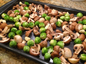 Roast Mushrooms and Sprouts