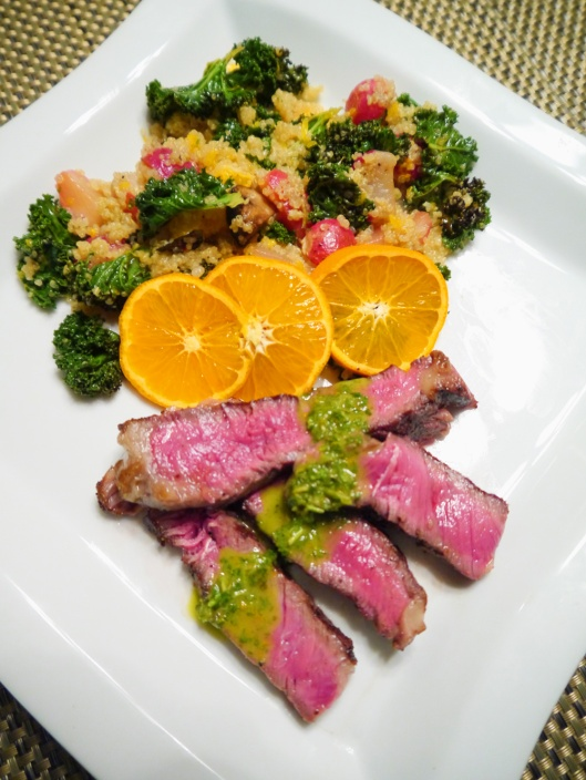 Sliced-Ribeye-Steaks-with-Roasted-Radish-and-Orange-Quinoa-salad